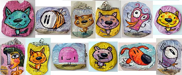 "Charles Kaufman ""Crushed Can Art"" Original paintings on recycled & upcycled beverage cans."