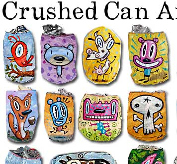 crushed can, art, recycle, colorful,soda,beer,kaufman,charles